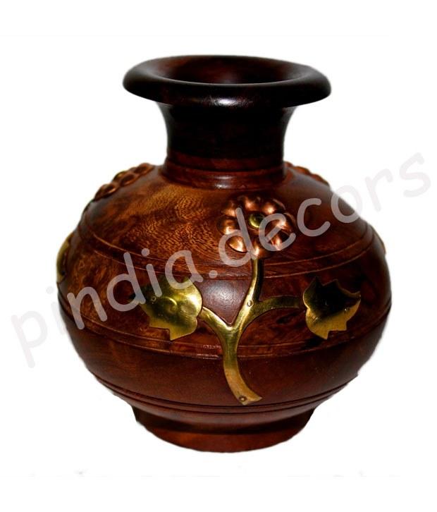 Wooden Flower Pot Decorative Item Gift Home Decor House Kitchen Vase Showpiece Online Shopping
