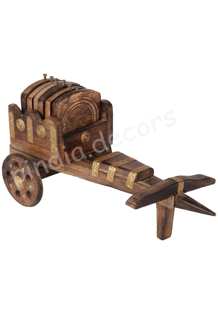 Bullock Cart Coaster Set Of 6 Wooden Tea Office Home Decor Dinning Kitchen Coffe Online