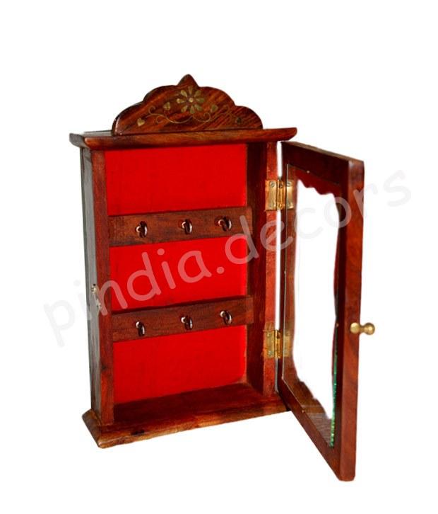 Wooden Key Holder Box Almira Antique Wall Hanging Home Decor Handicraft Online Shopping For