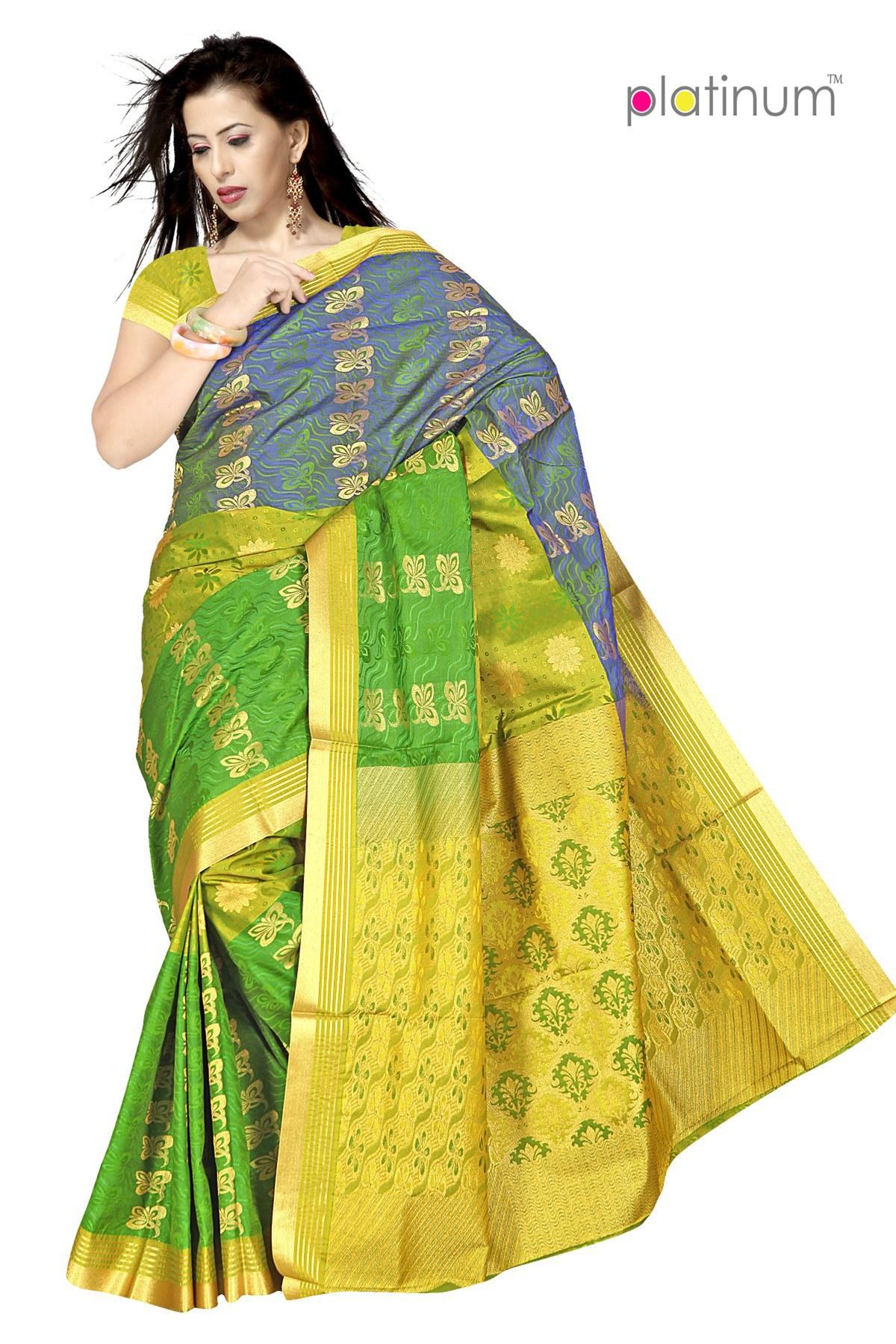 lime green designer zari saree ps327 online shopping for silk sarees by platinum online shopping. Black Bedroom Furniture Sets. Home Design Ideas