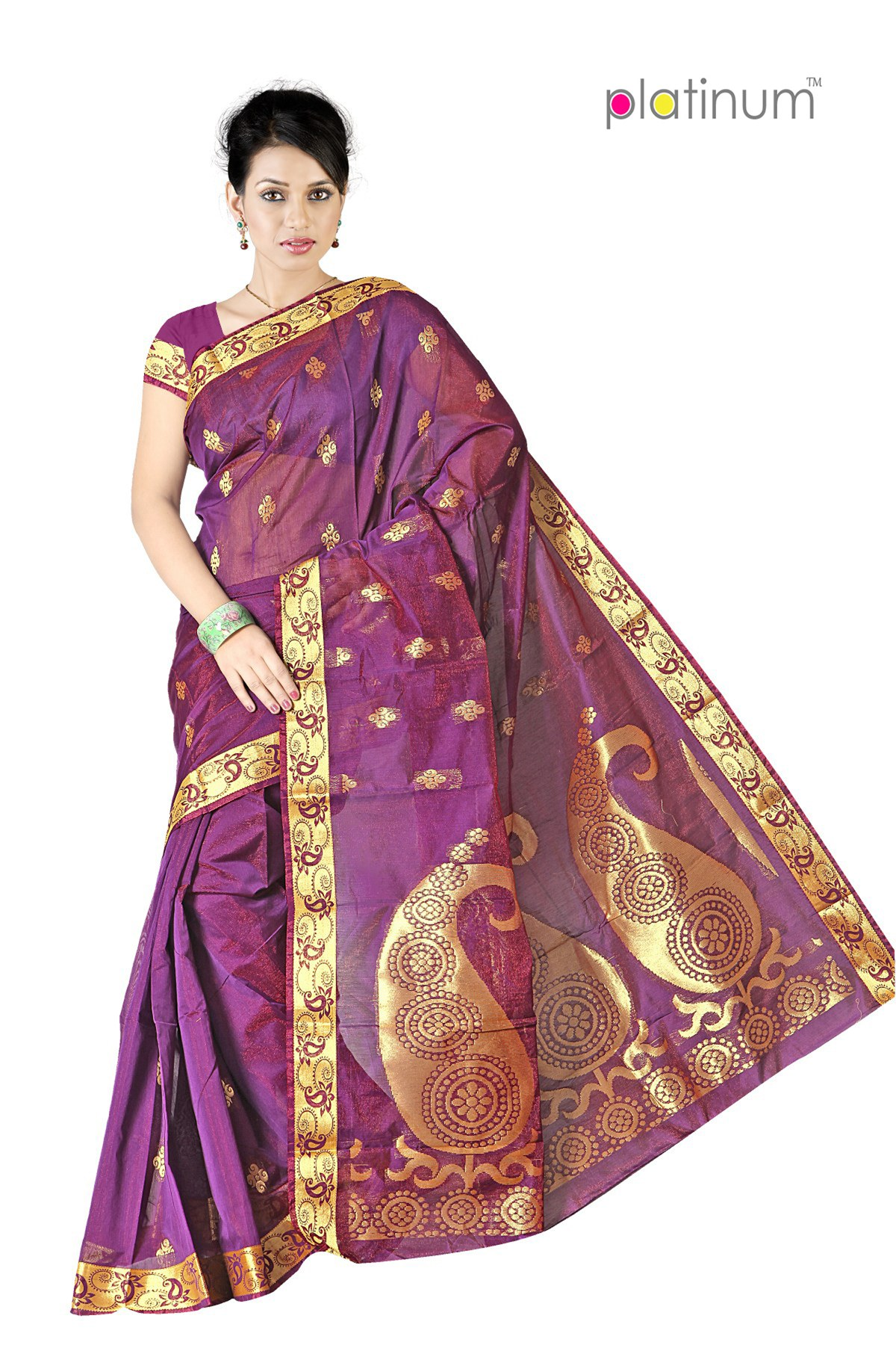 imperial purple designer zari saree ps341 online shopping for silk sarees by platinum online. Black Bedroom Furniture Sets. Home Design Ideas