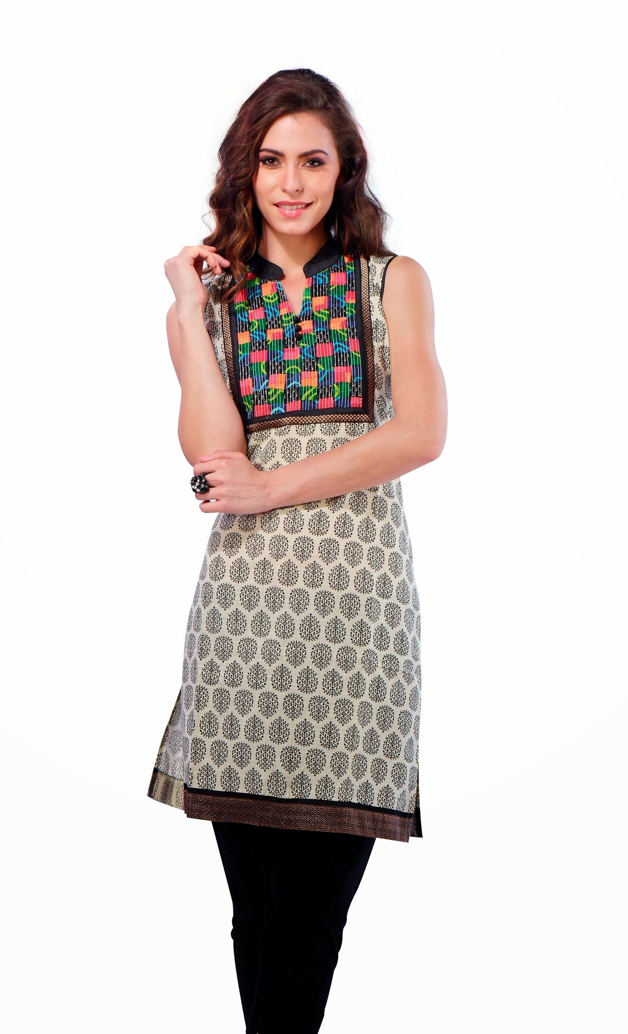 Stand Collar Kurta Designs : Straight cotton kurti with stand collar online shopping