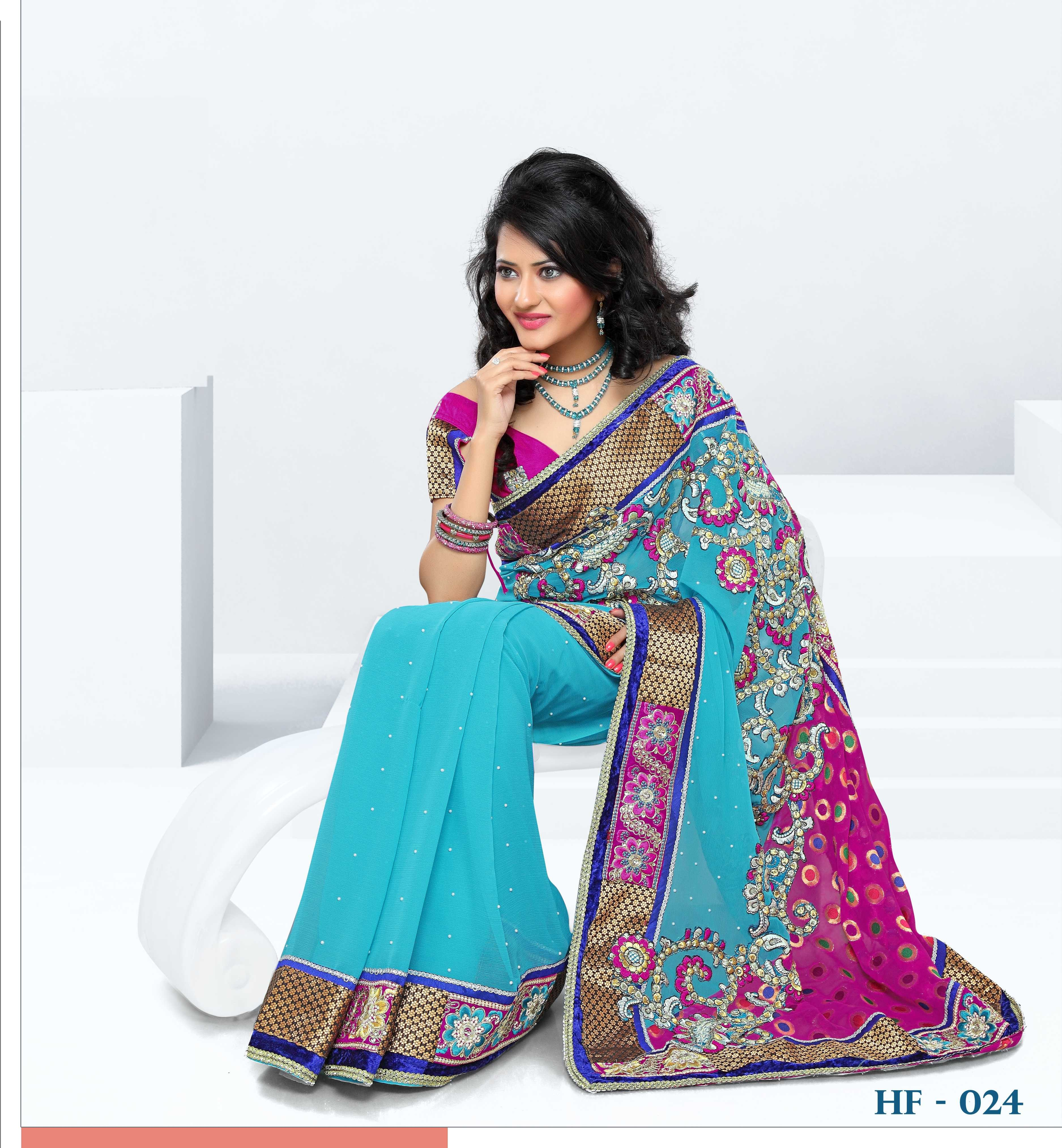 Designer chiffon saree with viscose pallu heavy work and for Luxury online shopping