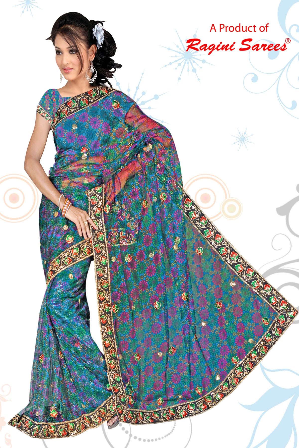 Designer Net Saree With Beautiful Embroidered Border With Cotton Shimmer Blouse. - Online ...
