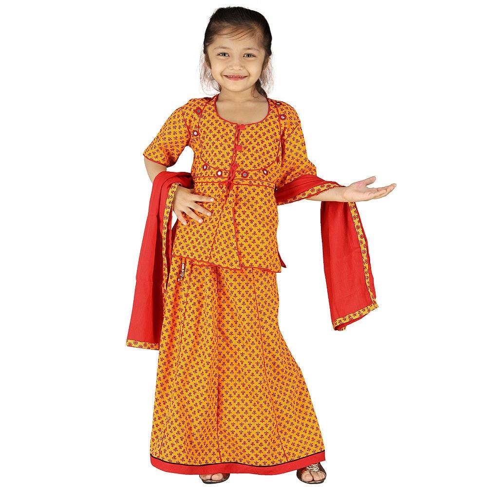 Girls Traditional Sanganeri Red Lehanga Kurti 101B-Online ...