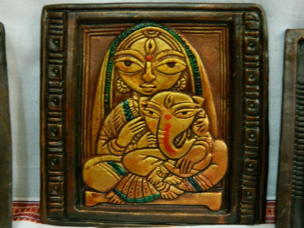 Teracotta maa durga ganesha tiles for your vibrant for Tile decor international pvt ltd