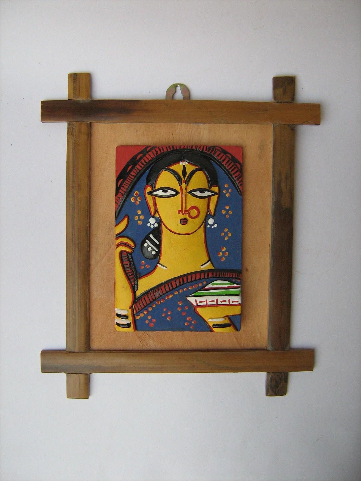 Jamini Roy Banglar Nari Terracotta Framed Artwork