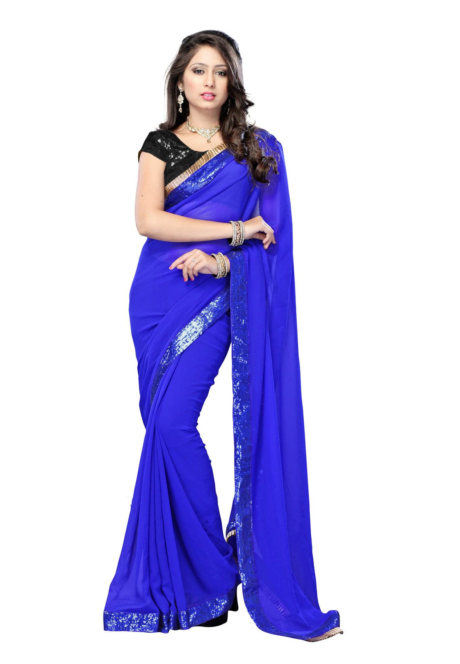 Deepika Padukone, Royal Blue, Georgette Saree TM-9-Online ...
