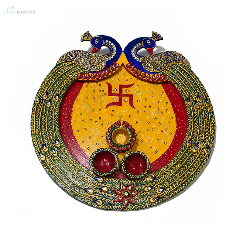 Peacock design handcrafted pooja thali plate online for Aarti thali decoration with clay