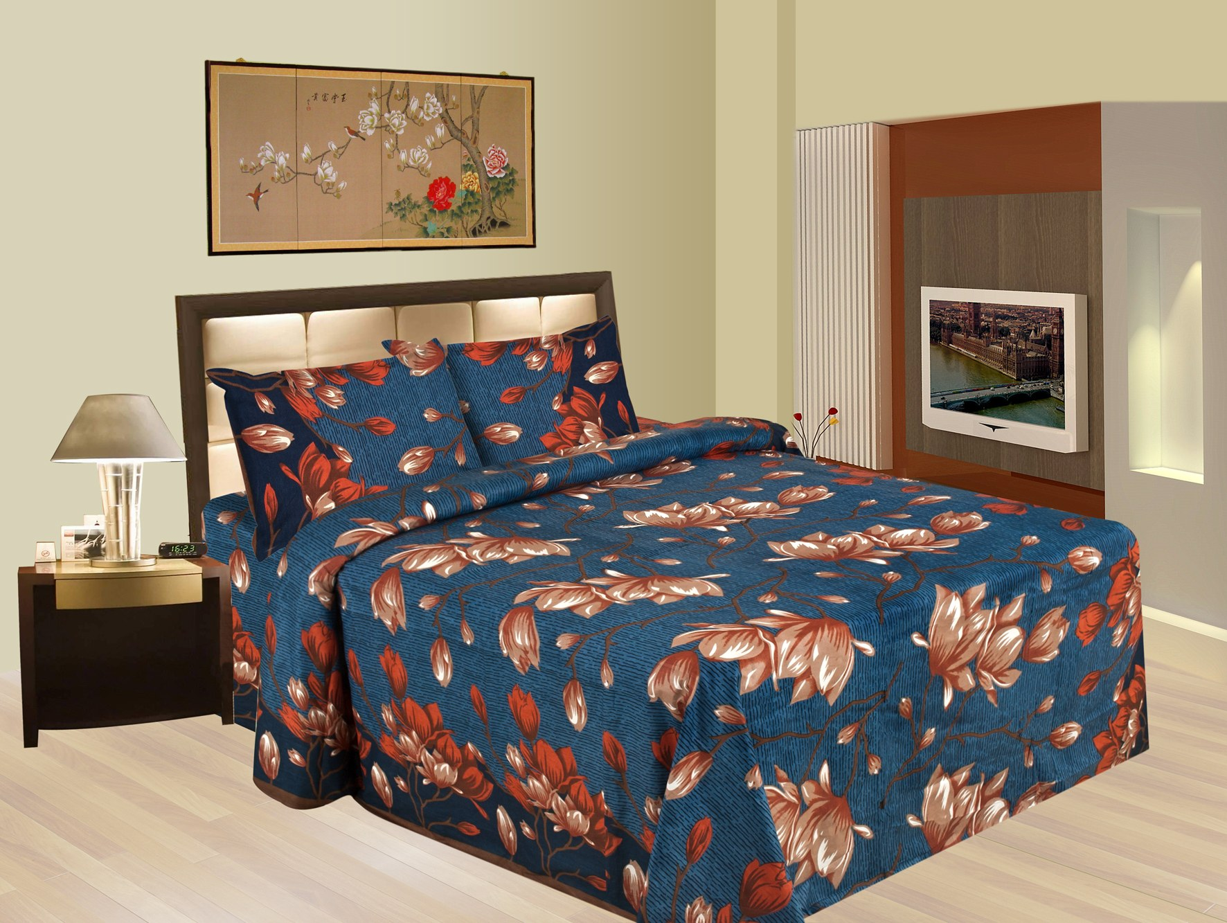 Bazarvilla100 Cotton Floral Double Bedsheet With Two