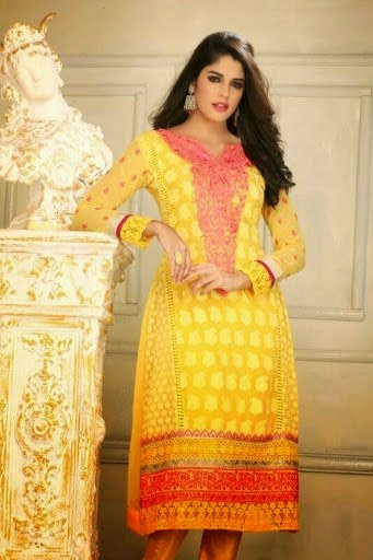 KAREENA KAPOOR ANARKALI YELLOW SALWAR KAMEEZ-Online Shopping-