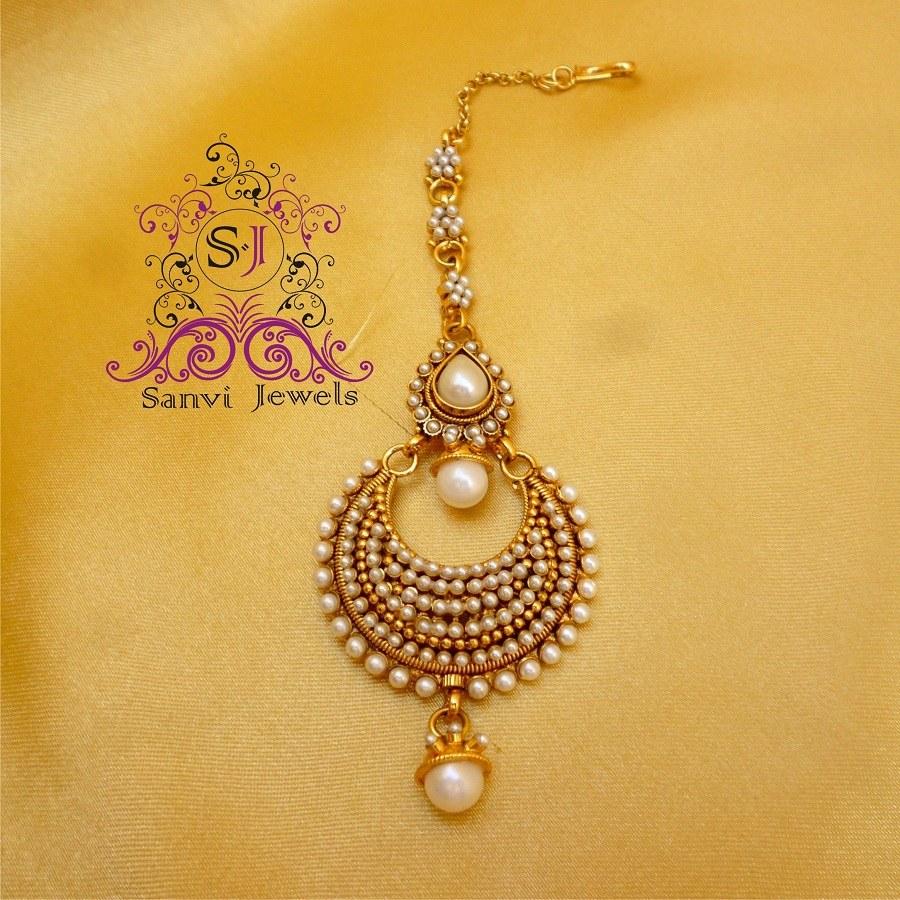 Antique Pearl Maang Tikka-Online Shopping-