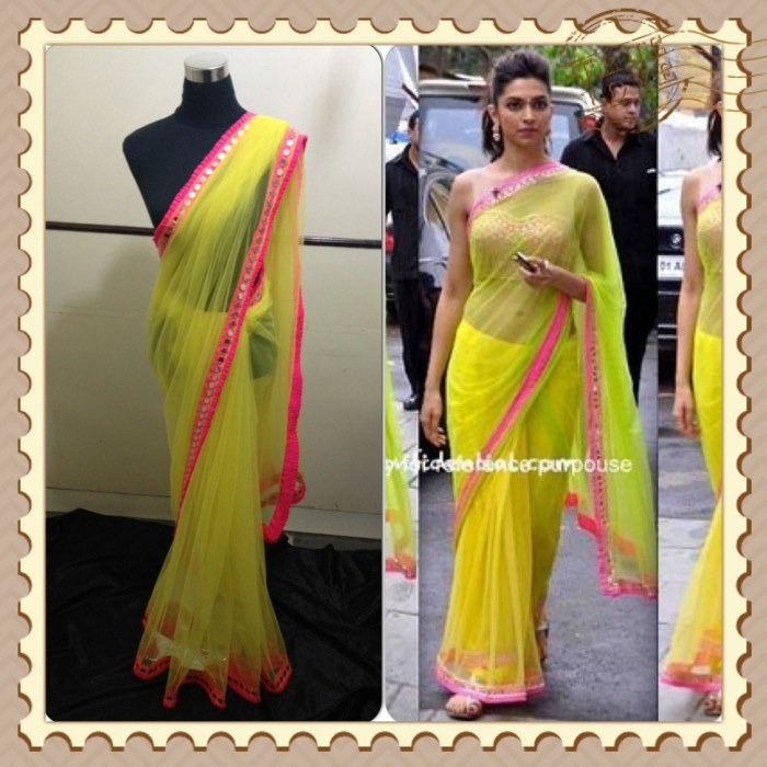 Deepika Padukone Lemon Yellow Net Bollywood Saree-Online ...