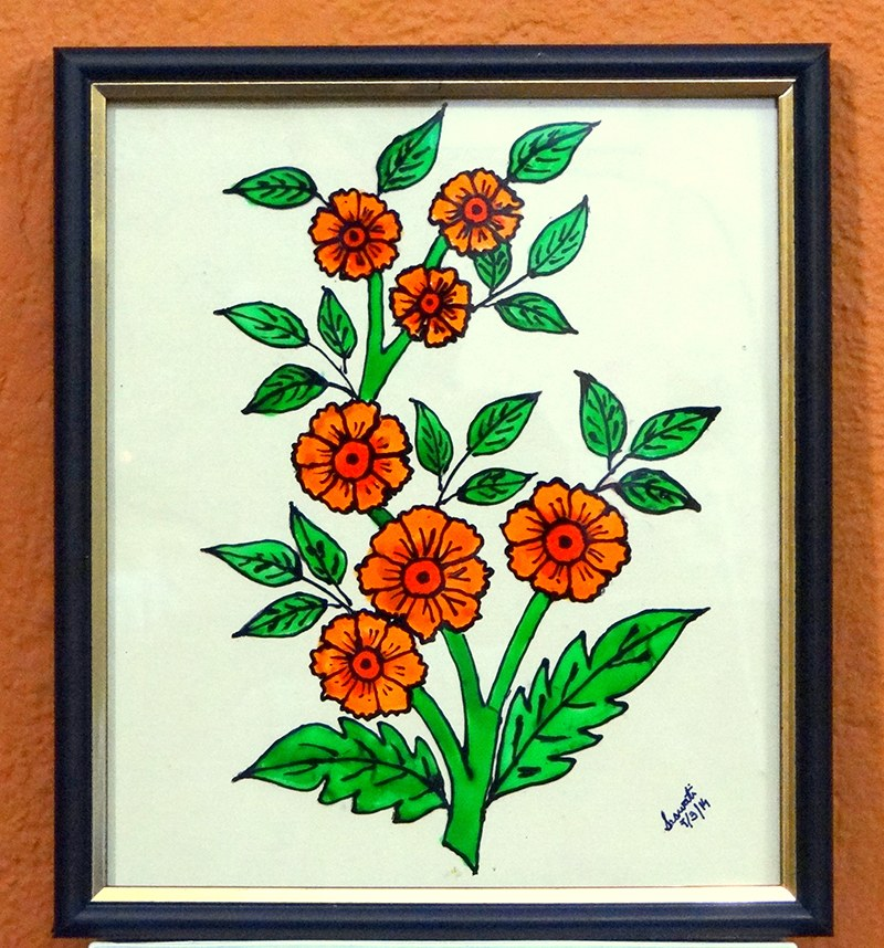 A beautiful glass painting of flowers in full bloom online for How to learn glass painting at home