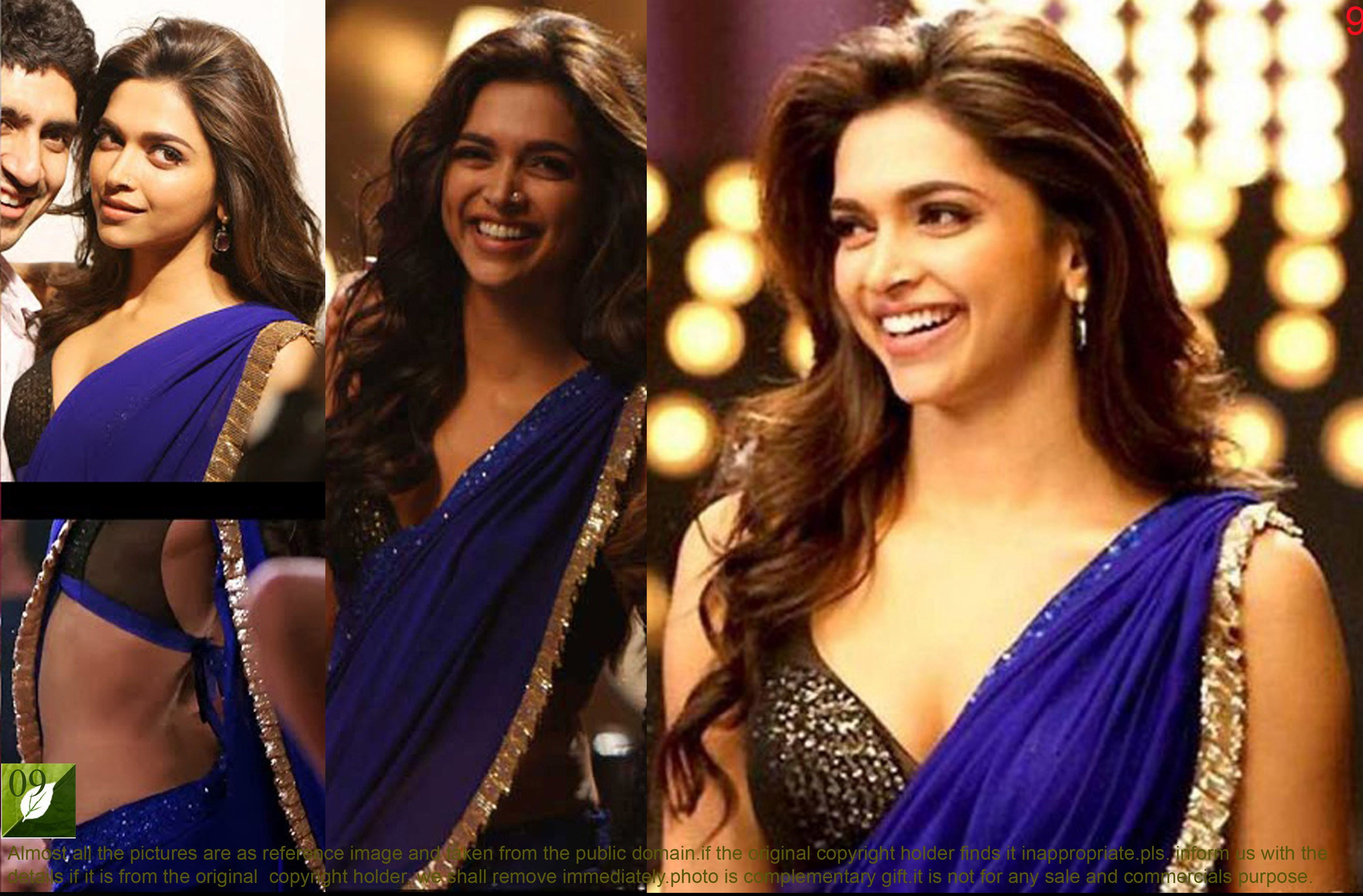 Deepika Padukone, Royal Blue, Georgette Saree TM-9-Online ...