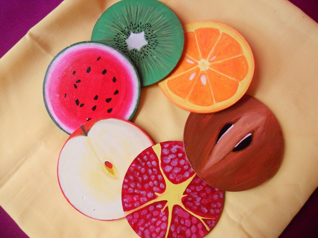 Fruit coasters online shopping for kitchen accessories by sneha 39 s crafty ideas online shopping - Fruit kitchen decorating theme ...