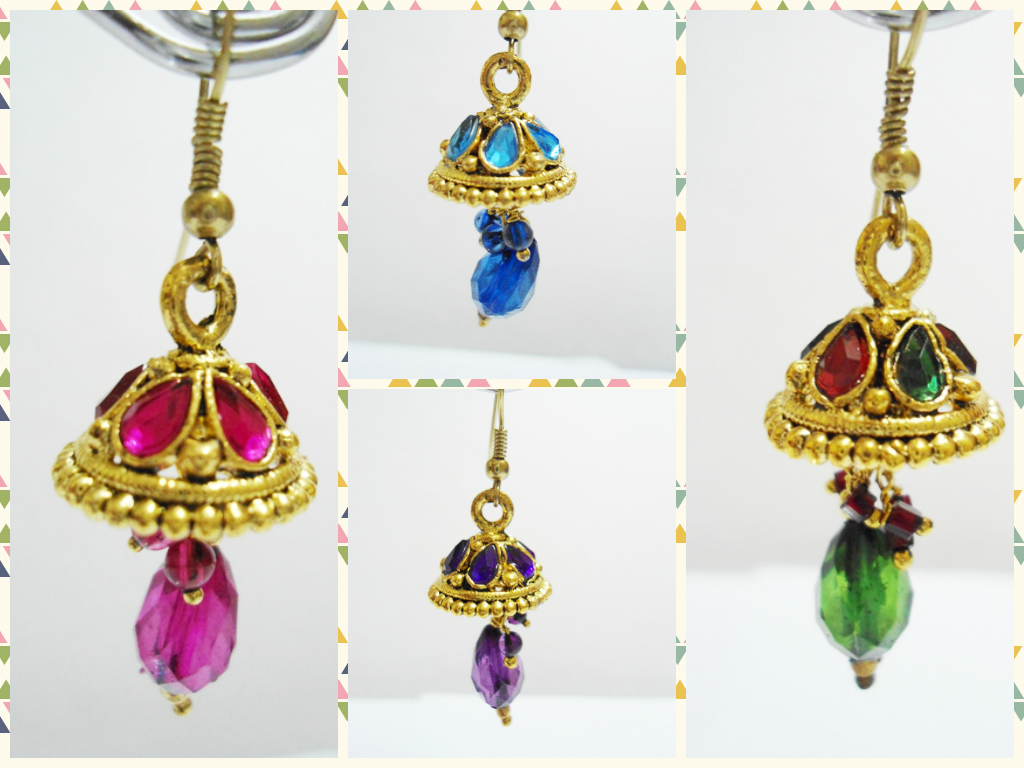 4 pair of small hook jhumka online shopping for earrings by sparkles shop shine online. Black Bedroom Furniture Sets. Home Design Ideas