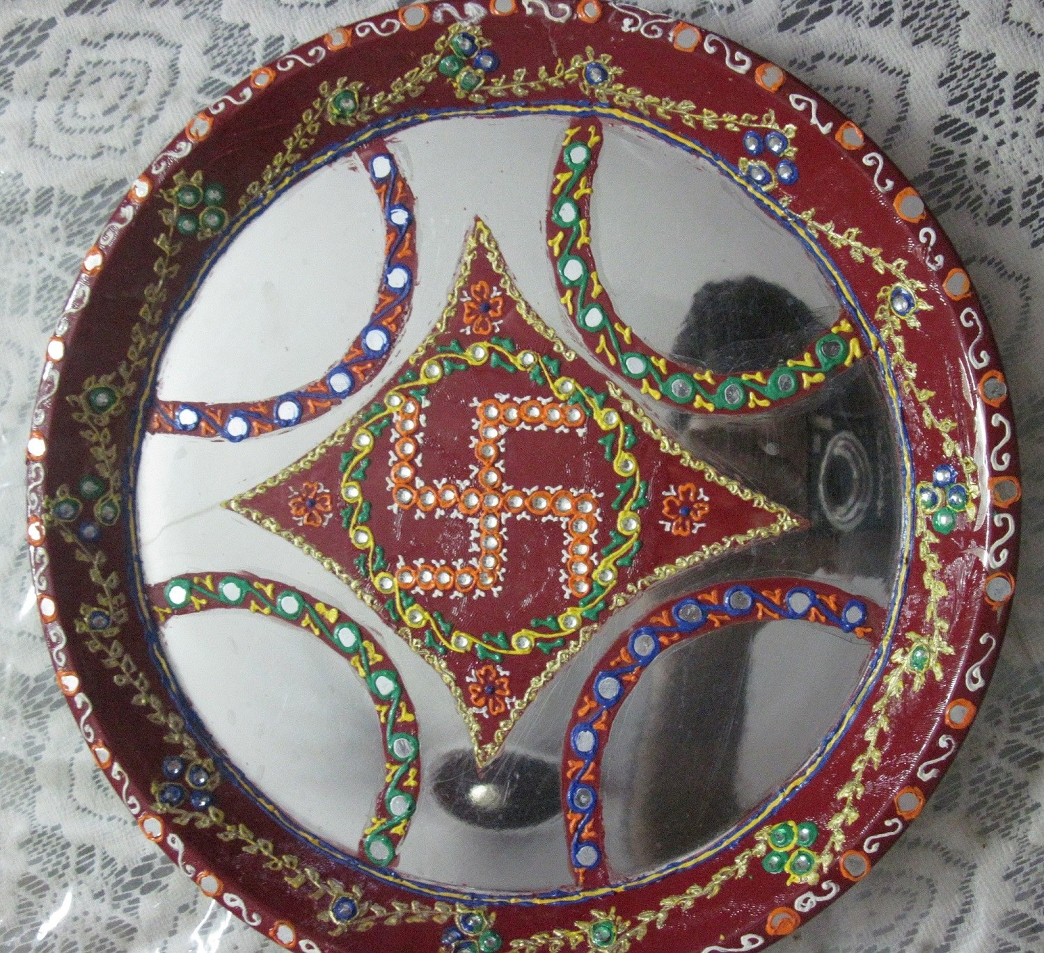 Decorative pooja thali swastik design medium online shopping 1 for Aarti thali decoration with clay