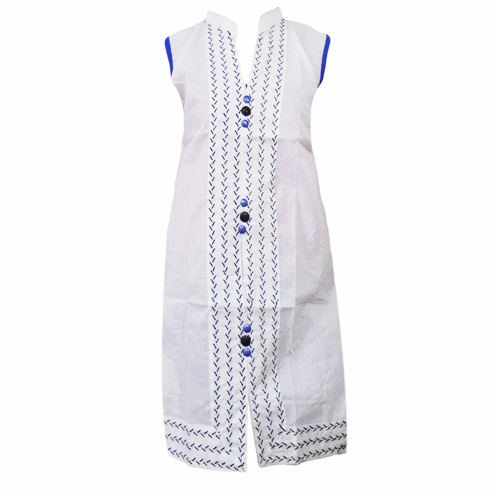 Stand Collar Kurti Designs : Stand collar white cotton kurti with blue buttons online