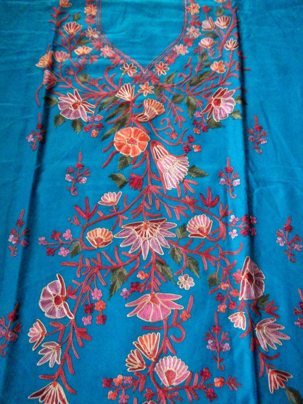 Kashmir ari embroidered dress material turquoise colour