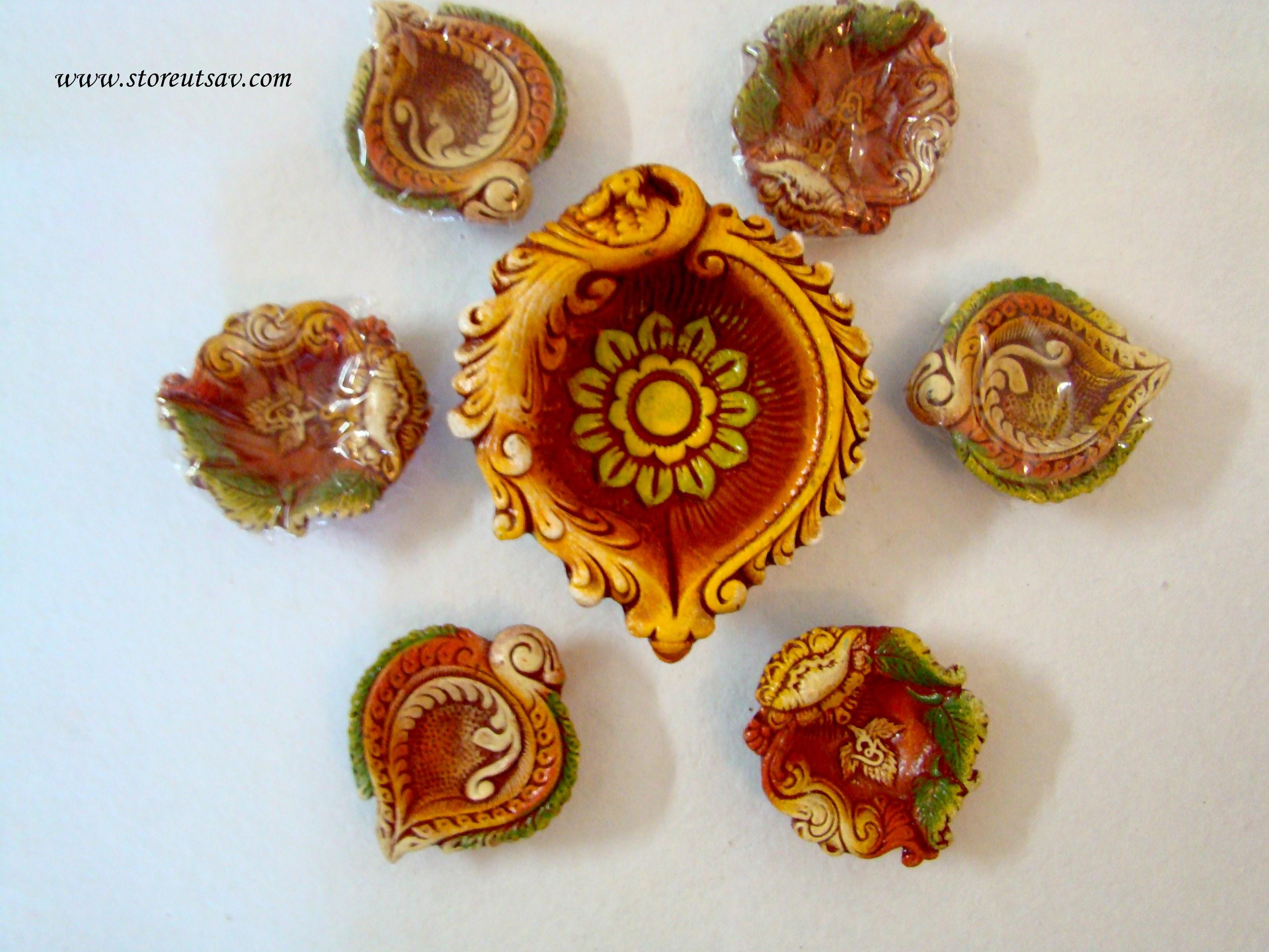 Diwali Diyas Online Shopping India: Rangoli Diyas Terracotta Small Alankar