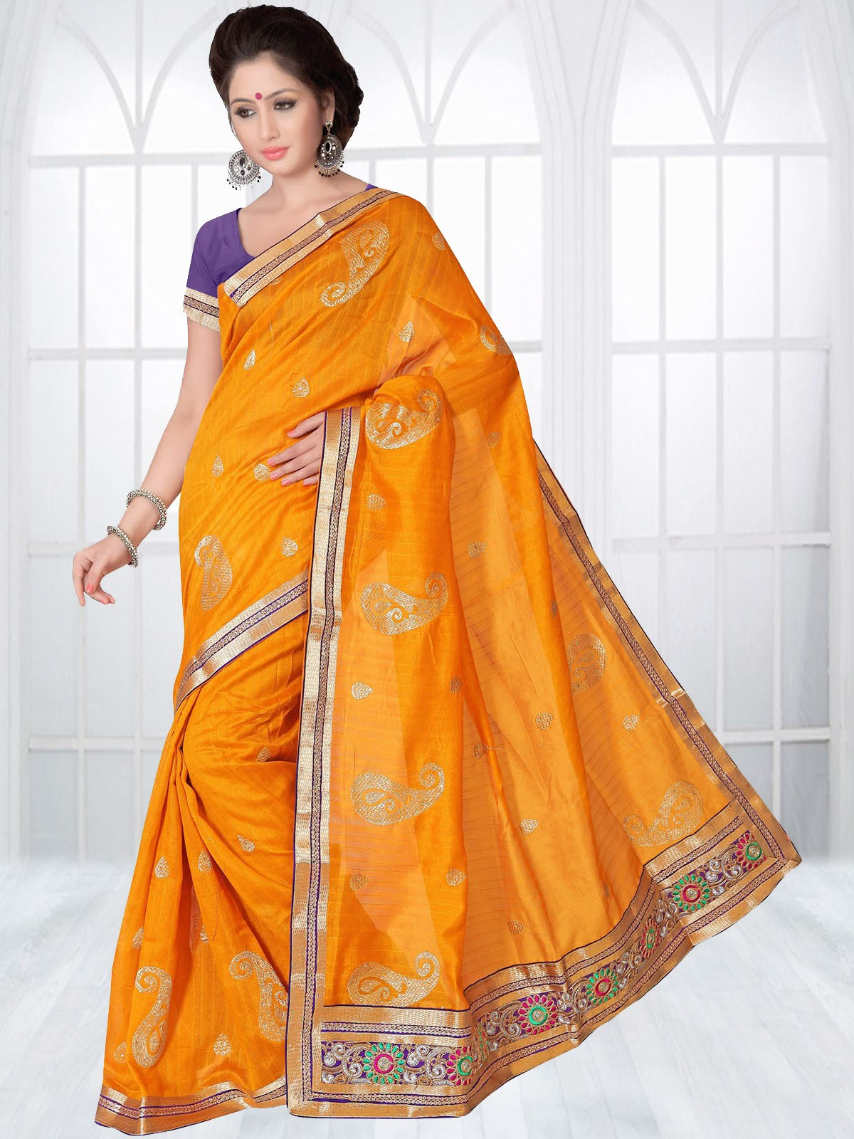 Suchi Fashion Yellow With Golden Embroidery And Border