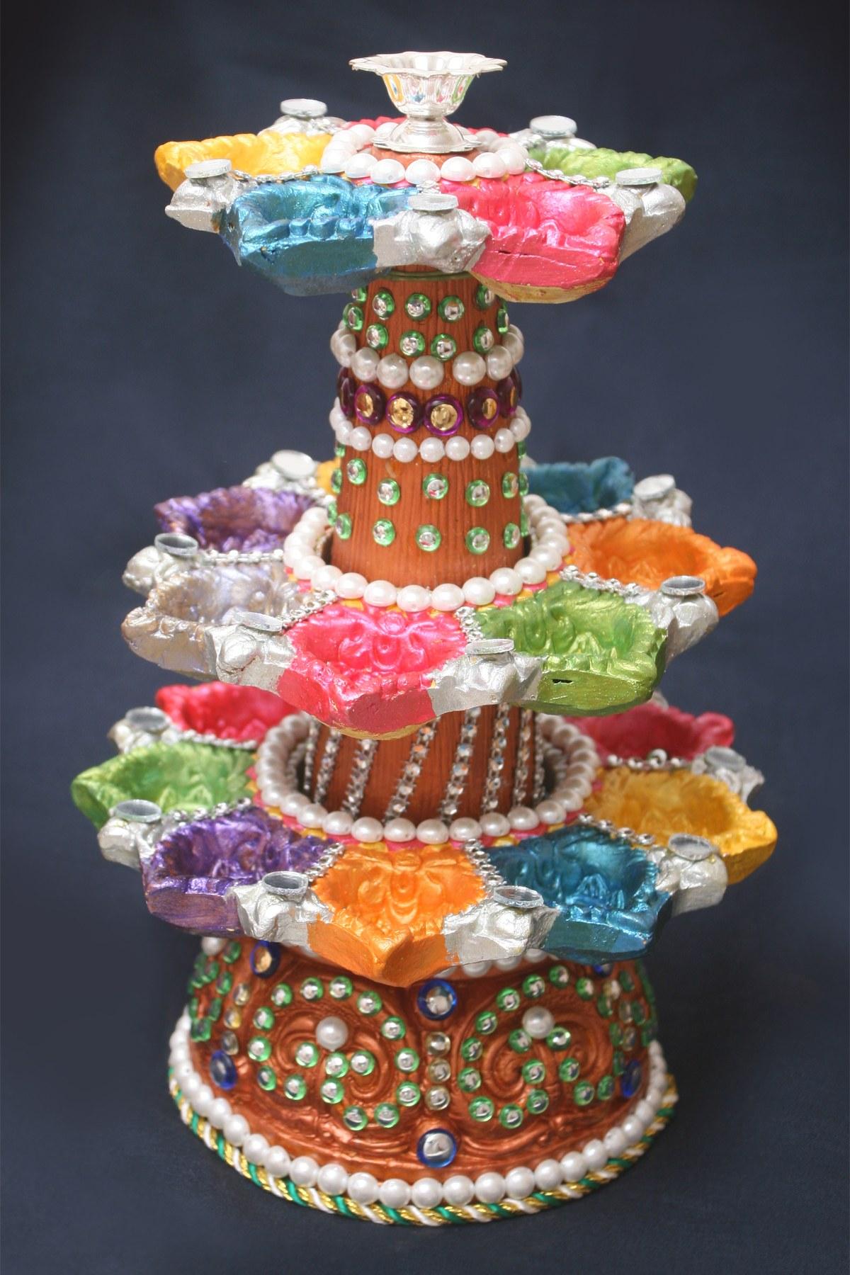 Decorative diwali diya deep stambh type online shopping 1 for Art and craft diya decoration