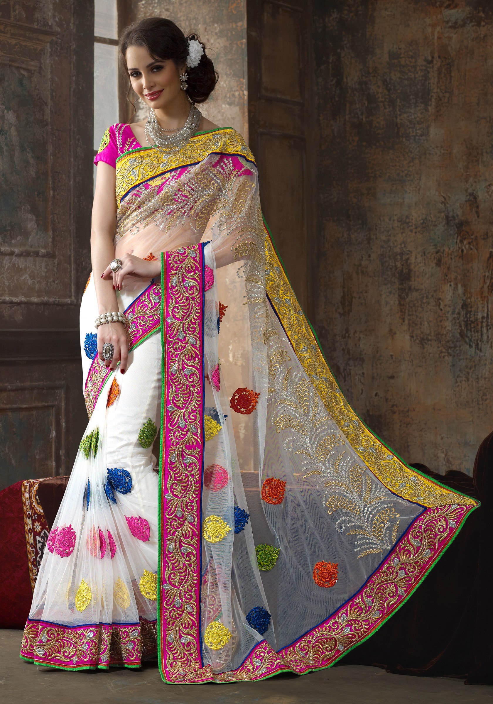 Buy online white color designer embroidery latest party for Designer shoppen