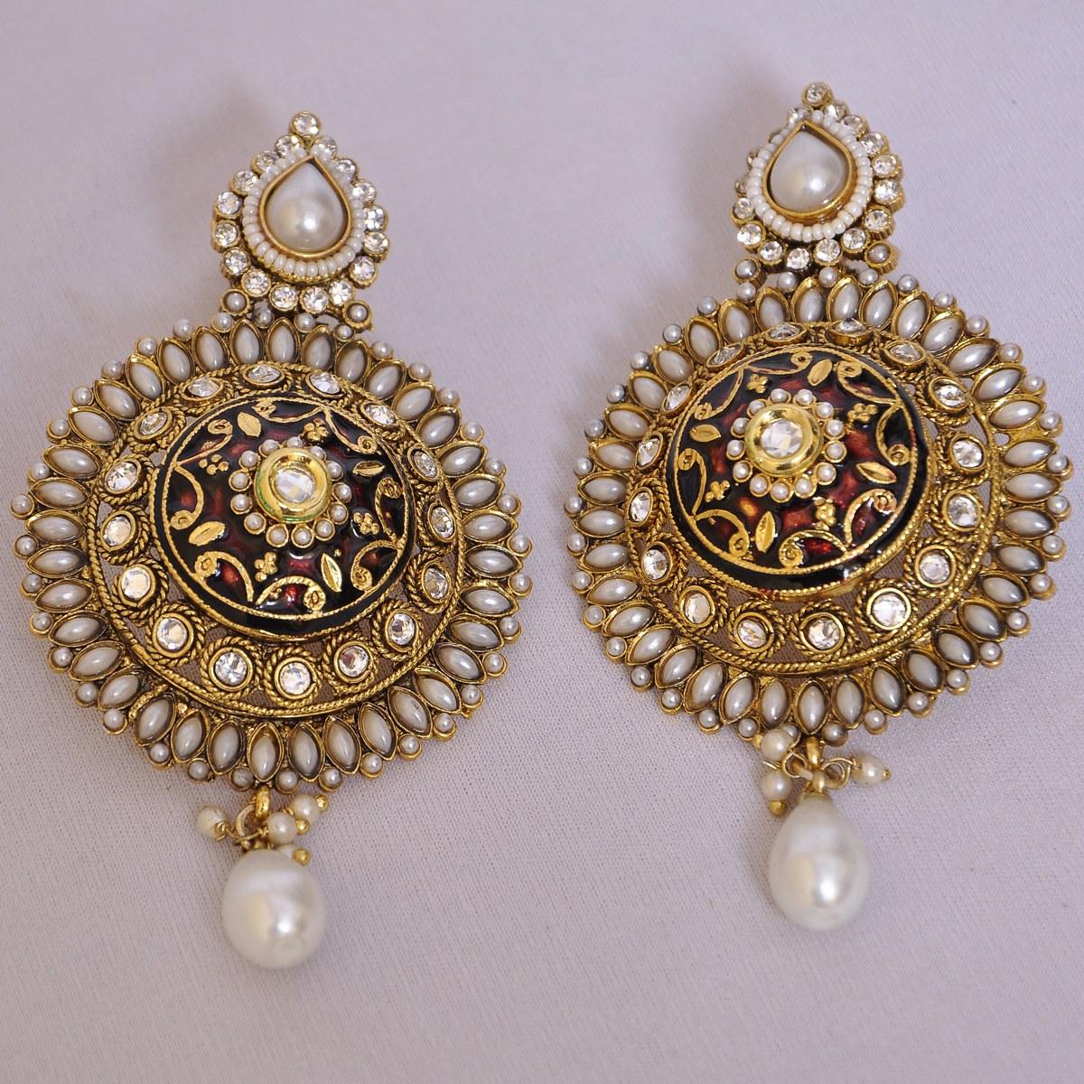 Pearls Kundan Earrings Online Shopping
