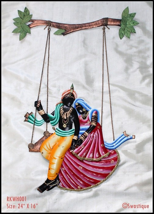 Wall Decor Radha Krishna : Wrought iron radha krishna wall hanging ping