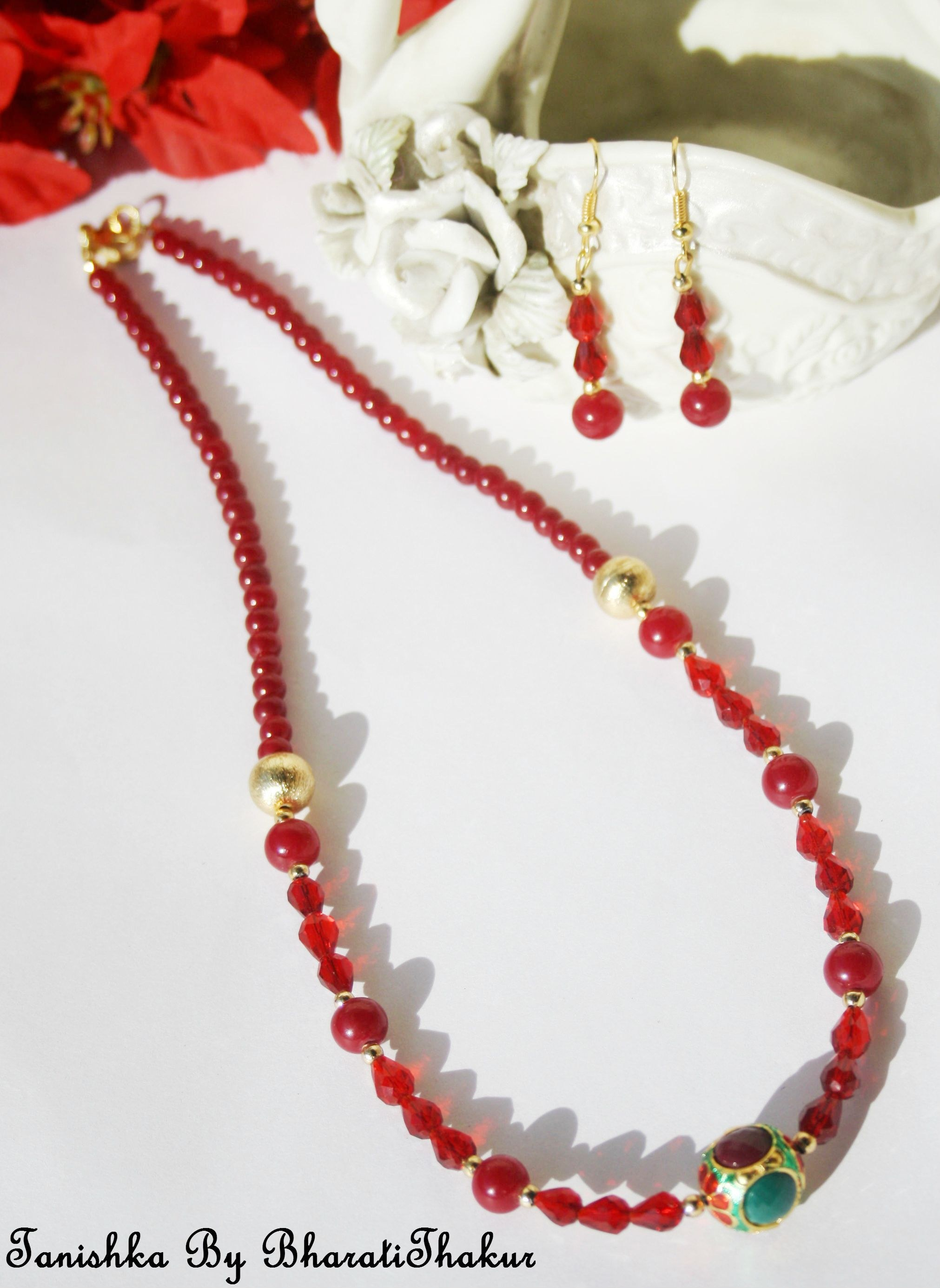 Maroon Crystal Necklace Set With Meenakari Ball Online Shopping