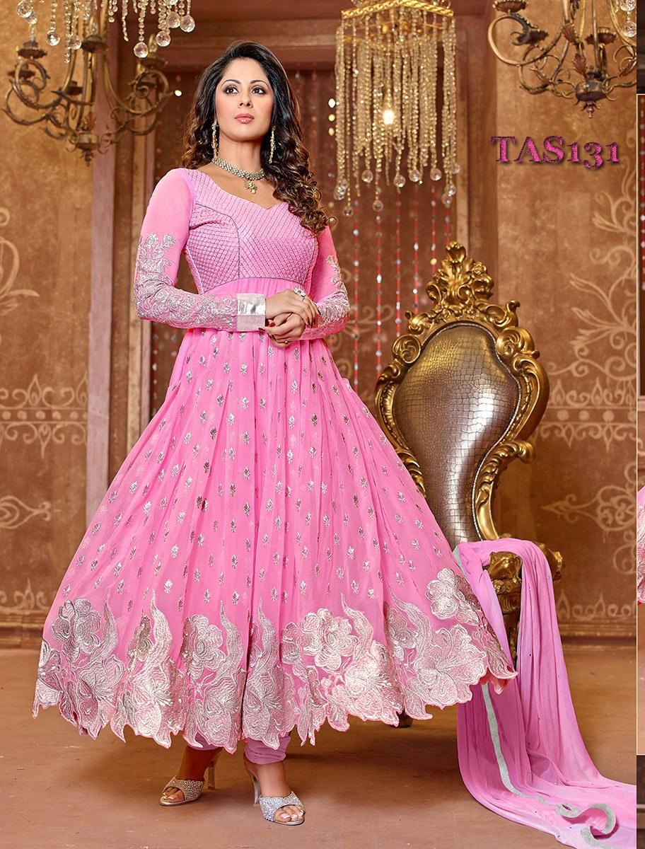 Thankar New Attractive Designer Georgette Pink Anarkali