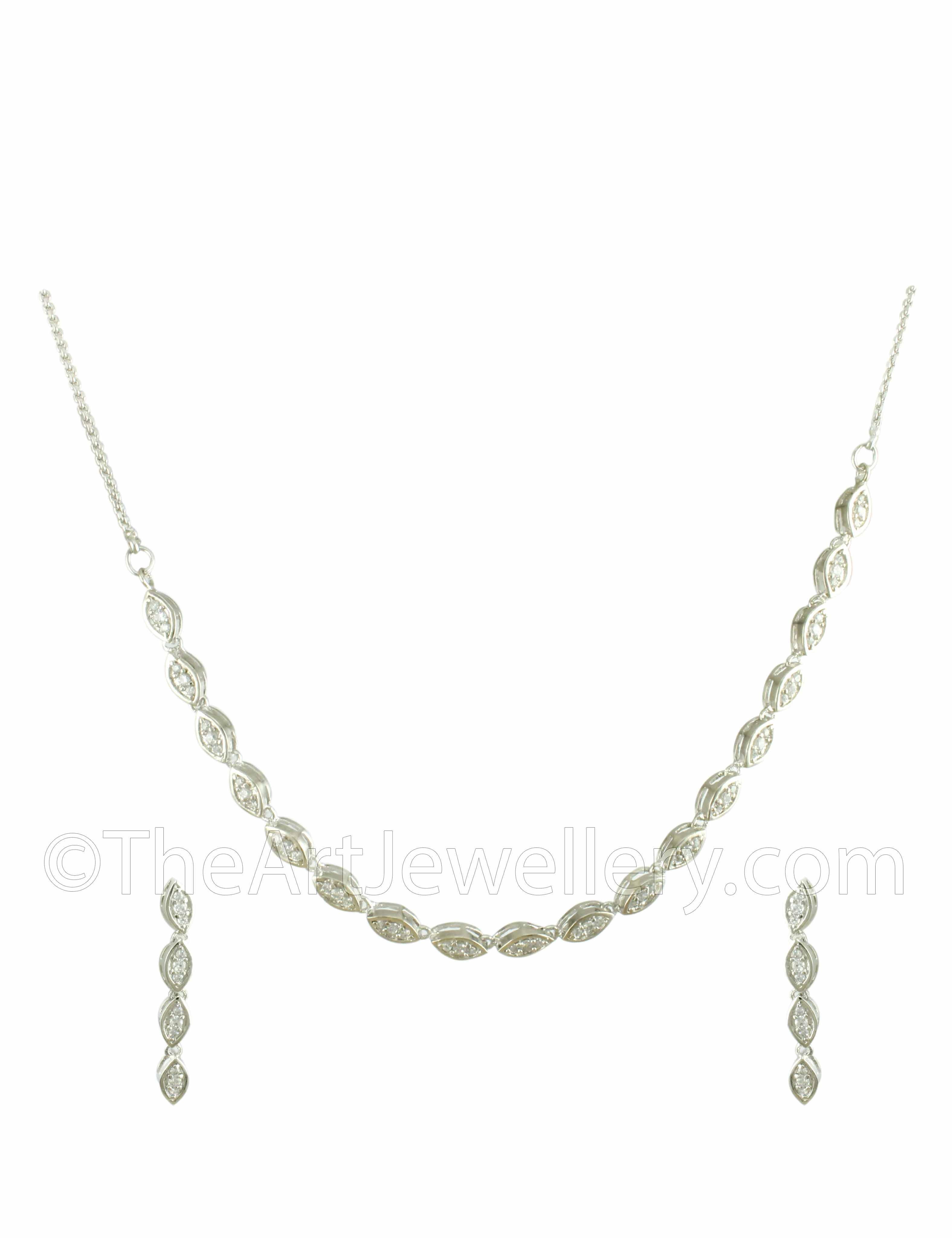 Line Art Jewellery : Single line marquise cz diamond necklace set online shopping