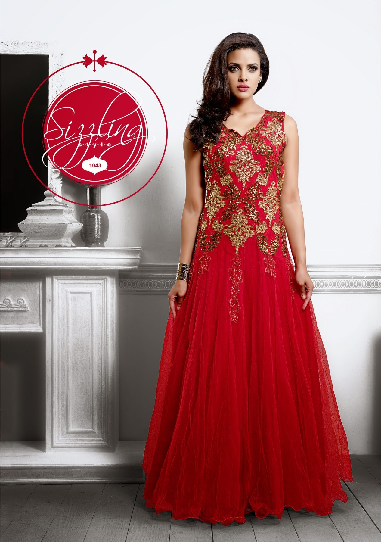 Valehri new designer red party wear floor touch for Floor touch gown