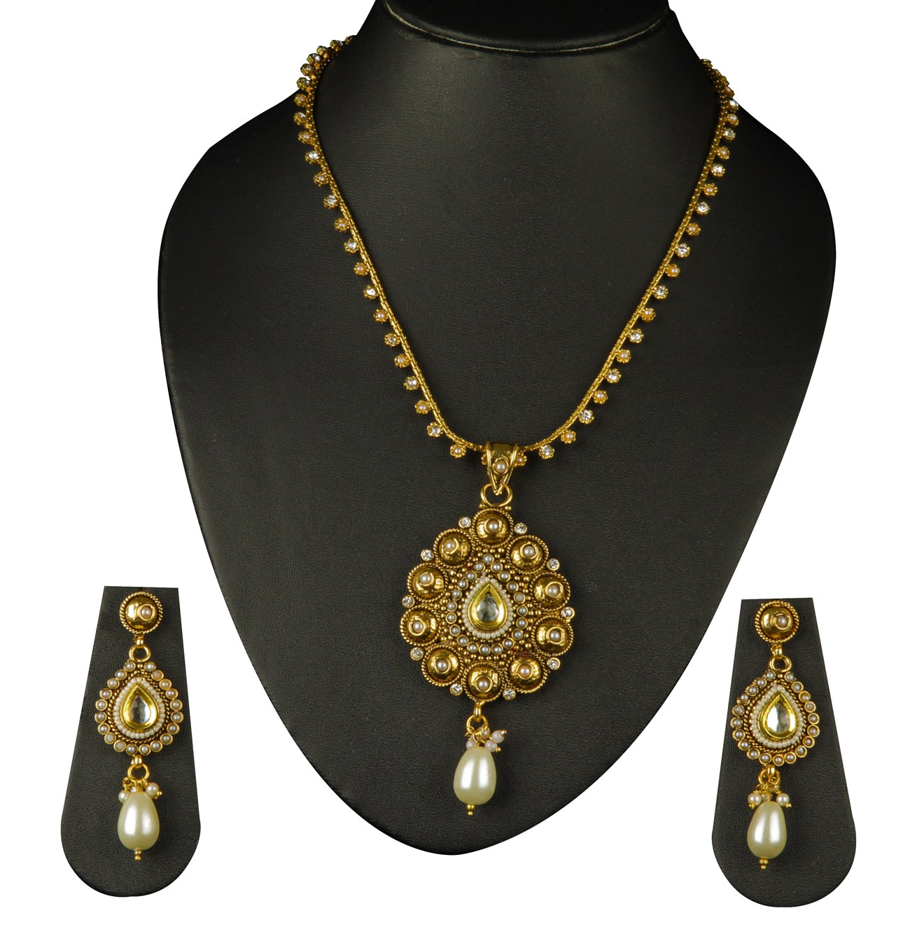 Gold Plated Necklace Earrings Set Indian Traditional: Indian Bollywood Fashion Designer Jewelry Gold Plated