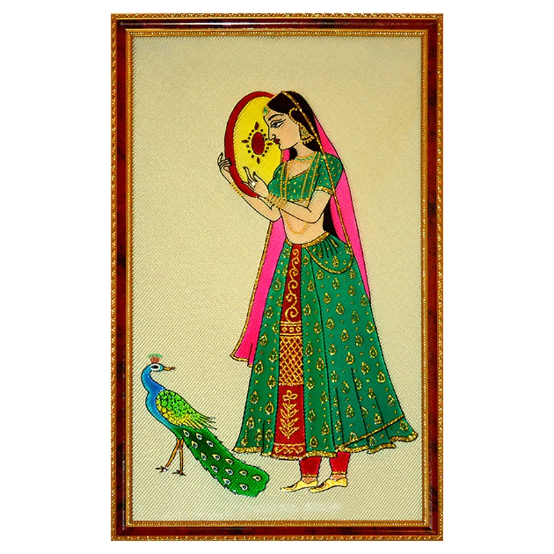 Girl with peacock glass painting online shopping for How to learn glass painting at home
