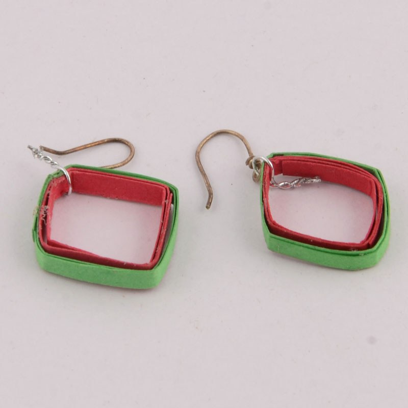 Green Handmade Paper Earrings - Online Shopping for Earrings by Little    Handmade Paper Earrings