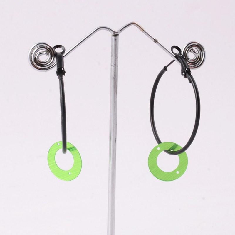 green ring hanging earrings shopping
