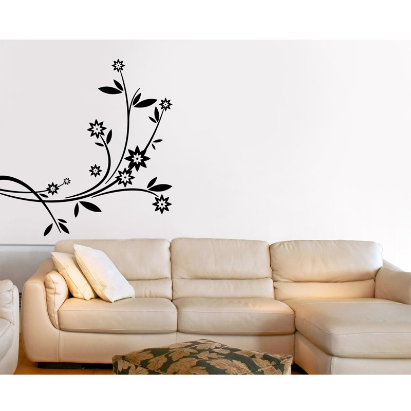 Flowerette Wall Decal Black Left Corner Branch Home Decor Walldesign