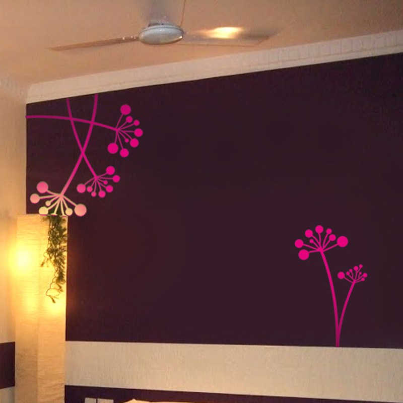 Floral Circles Wall Sticker Pink Online Shopping