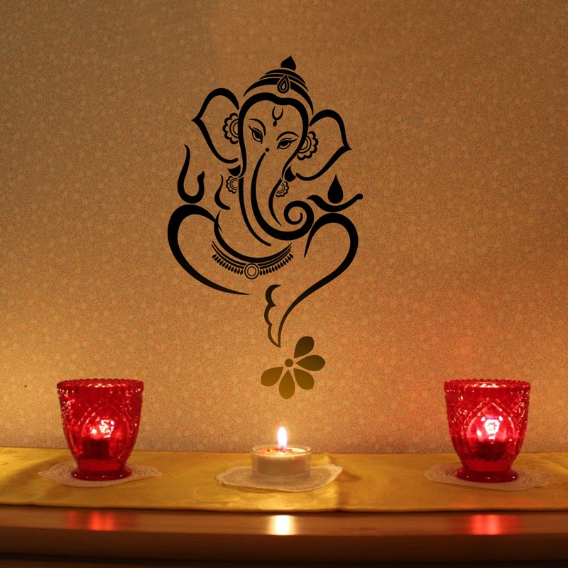 Floral Ganesha - Wall Decal - Black-Online Shopping-