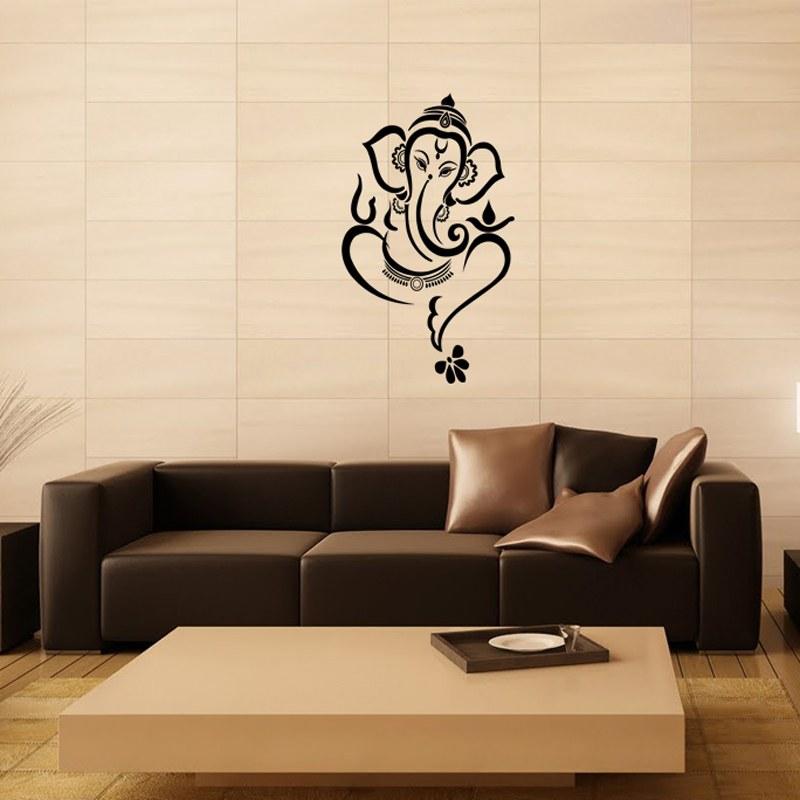 Floral Ganesha Wall Decal Black Online Shopping