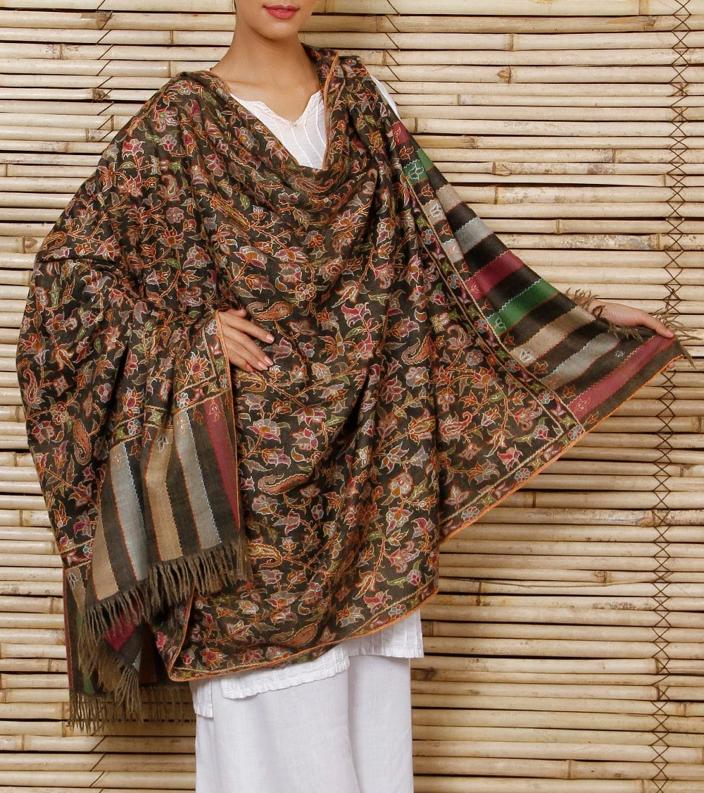 Charcol Pure Pashmina Outlined Kani Shawl Shawls By