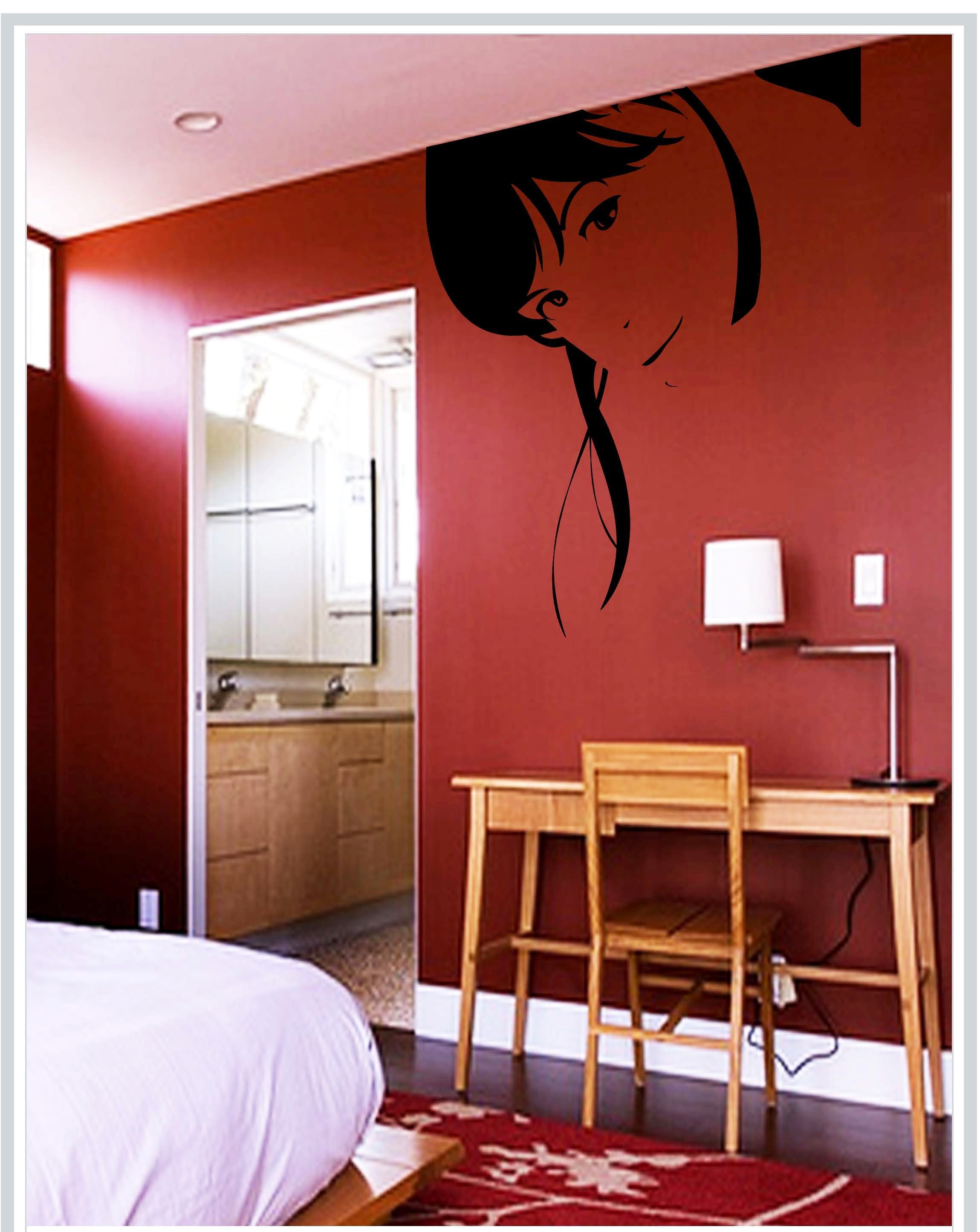 Gloob Decal Style Girl Face Wall Sticker Art Wall N