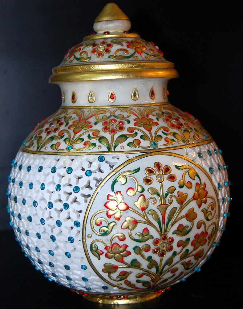 Round Shape Marble Pot With Kundan And Flower Work Vase