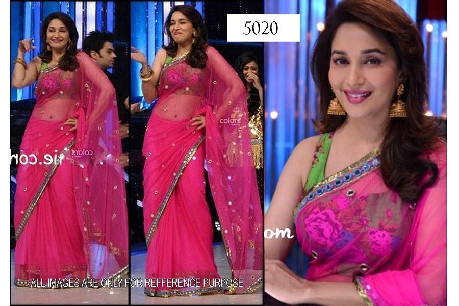 Madhuri pink green saree bollywood sarees by mia sarees mia