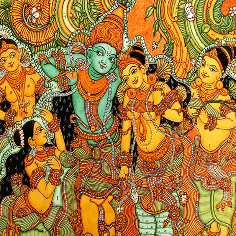 Kerala mural art krishna in vrindavan 64 arts online for Art mural painting