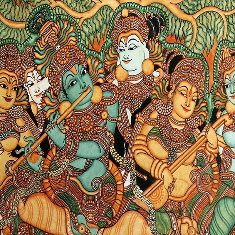 Kerala mural art krishna playing the flute 64 arts for Mural art designs
