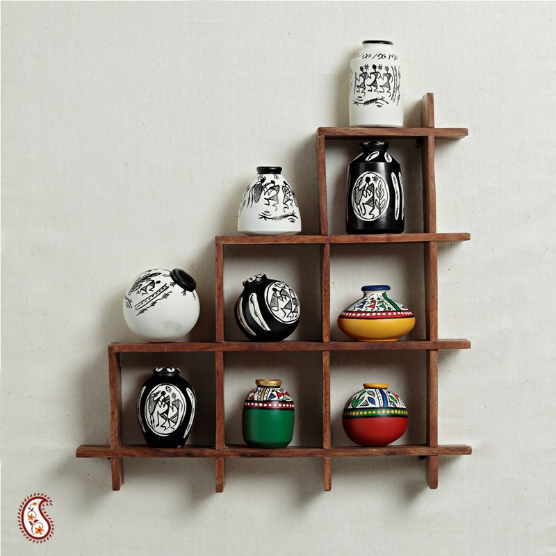 Wall decor with miniature pots home decor apno rajasthan for Wall hanging showcase designs
