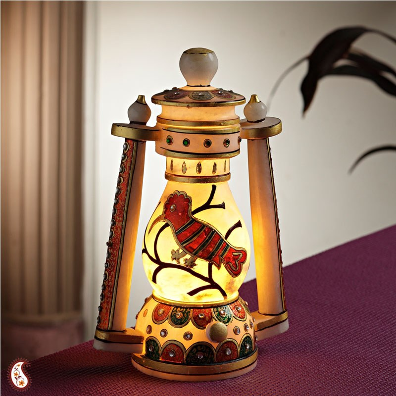 Marble lantern with gold work online shopping for Home decor items online shopping